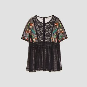 ZARA Embroidered Plumetis Blouse Lace Sheer Black